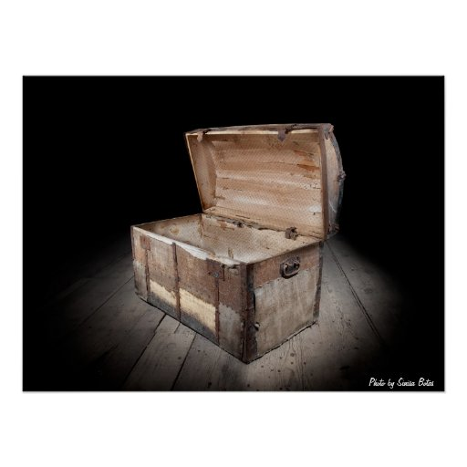 Empty treasure chest print