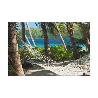 Empty tropical hammock canvas print