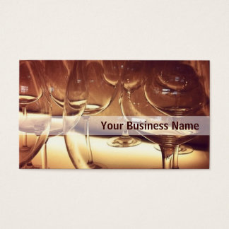 Empty Wine Glasses in Yellow Light business card