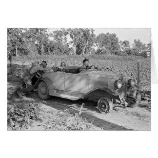 Empujar un coche, 1939 tarjeta de felicitación
