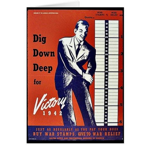 Empuje abajo profundamente para la victoria 1942 tarjeta de felicitación