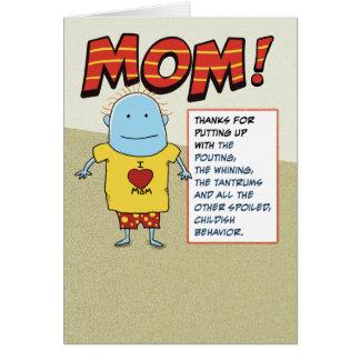 Empuje divertido en el día de madre del papá tarjeta de felicitación