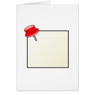 Empuje el Pin y la nota Tarjeta De Felicitación