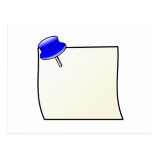Empuje el Pin y la nota Tarjetas Postales