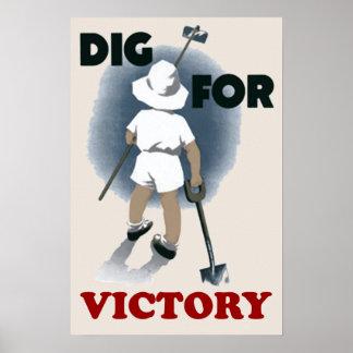 Empuje para el poster del vintage de la victoria