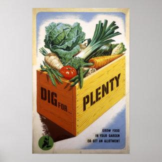 Empuje para la abundancia - fruta y Veg Poster