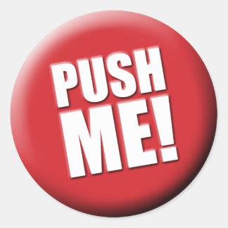 Empújeme botón rojo grande pegatina redonda