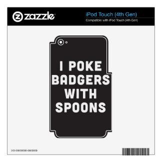 Empujo tejones con las cucharas calcomanía para iPod touch 4G