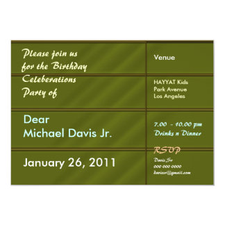 Emrald Gold with Sample Text 5x7 Paper Invitation Card