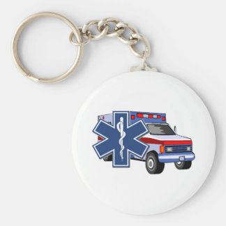 EMS Ambulance Basic Round Button Keychain