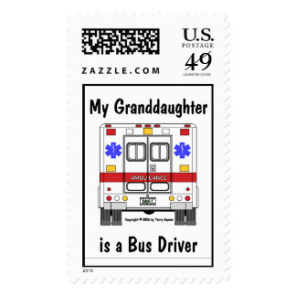 EMS-Ambulance, Grandaughter Bus Driver, granddaugh Postage Stamp