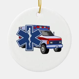 EMS Ambulance Double-Sided Ceramic Round Christmas Ornament