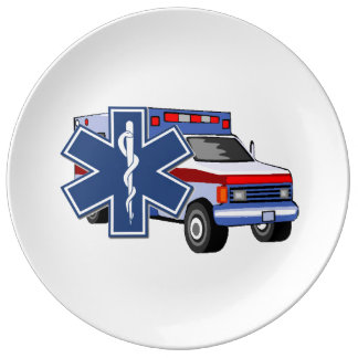 EMS Ambulance Porcelain Plates
