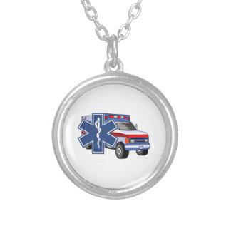 EMS Ambulance Round Pendant Necklace