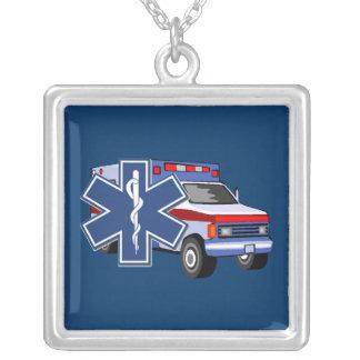 EMS Ambulance Square Pendant Necklace