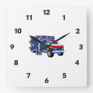 EMS Ambulance Square Wall Clock