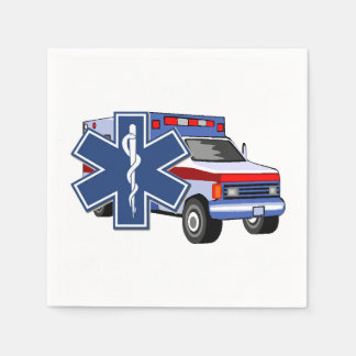 EMS Ambulance Standard Cocktail Napkin