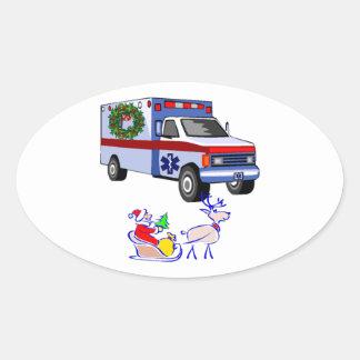 EMS Christmas EMT and Paramedic Oval Sticker