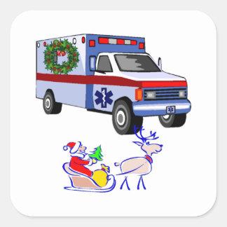 EMS Christmas EMT and Paramedic Square Sticker