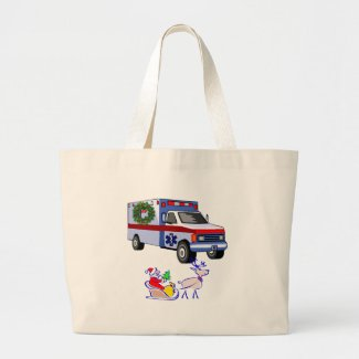 Christmas holiday gifts for EMT and Paramedic Tote Bag with our Santa Claus and ambulance designs! Personalized tote bags for EMT's and paramedics also have matching t-shirts and gifts for the holiday season!  Click to see our Christmas gift giving designs for EMS workers.......