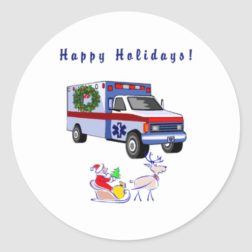 EMS Christmas Gifts Round Stickers