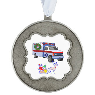 EMS Christmas Scalloped Pewter Ornament