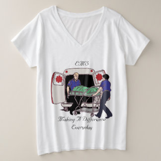 EMS Emergency Medical Services Making A Difference Plus Size V-Neck T-Shirt