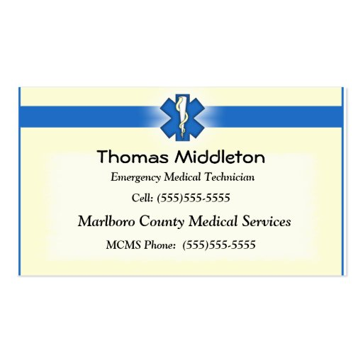 Medic business cards standard size page4 bizcardstudio ems emt contact card business card template colourmoves Image collections