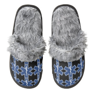 EMS EMT Paramedic Pair Of Fuzzy Slippers