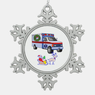 EMS EMT Paramedic Holidays Snowflake Pewter Christmas Ornament