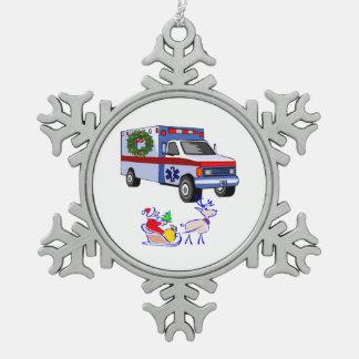 EMS EMT Paramedic Holidays Snowflake Pewter Christmas Ornament