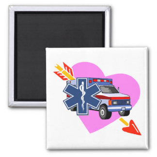 EMS Heart of Care 2 Inch Square Magnet