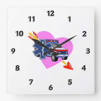 EMS Heart of Care Square Wall Clock
