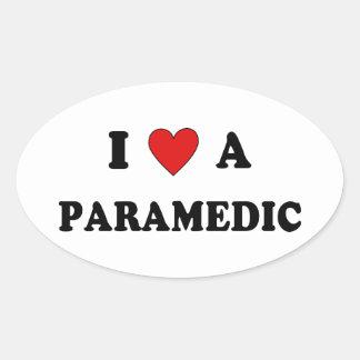 EMS I Love A Paramedic Oval Sticker