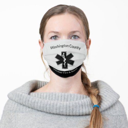 EMS Logo Volunteer Fire and Rescue Reusable Cloth Face Mask