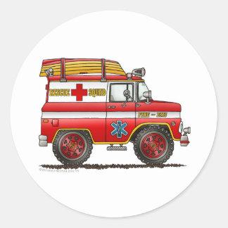 EMS Rescue Van Ambulance Fire Truck Classic Round Sticker