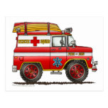 EMS Rescue Van Ambulance Fire Truck Postcard