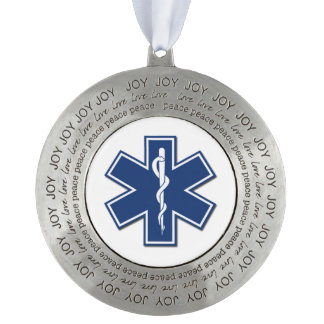 EMS ROUND PEWTER CHRISTMAS ORNAMENT