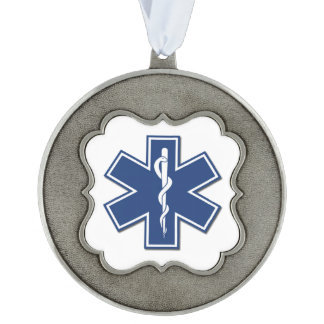 EMS SCALLOPED PEWTER CHRISTMAS ORNAMENT