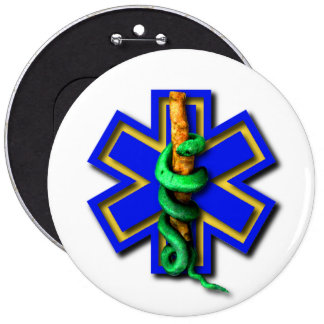 EMS Star of Life Badge 6 Inch Round Button
