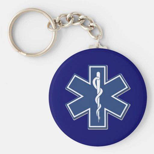EMS Star of Life Basic Round Button Keychain