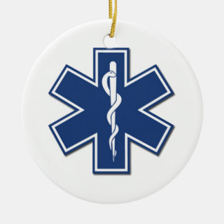 EMS Star of Life Double-Sided Ceramic Round Christmas Ornament