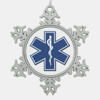 EMS Star Of Life Snowflake Pewter Christmas Ornament