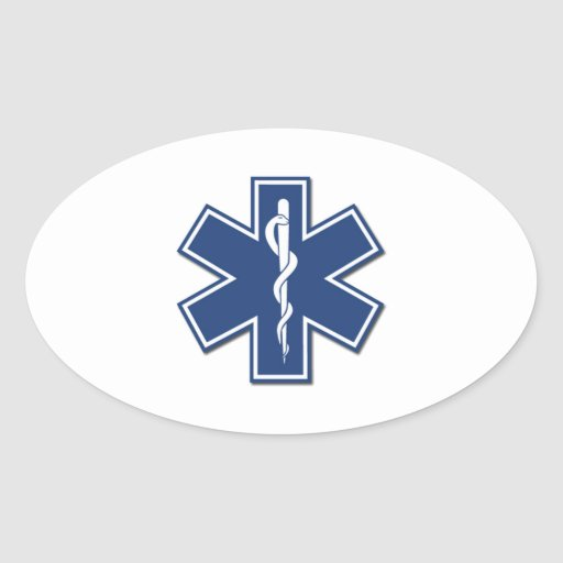 EMS Star of Life Oval Sticker