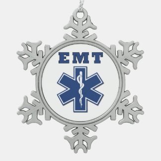 EMS Star Of Life Snowflake Pewter Christmas Ornament