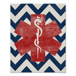 EMS Star Poster Paramedic Art Print Vintage