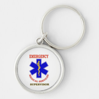 EMS SUPERVISOR Silver-Colored ROUND KEYCHAIN
