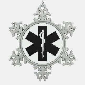 EMS Theme Snowflake Pewter Christmas Ornament