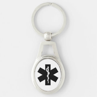 EMS Theme Silver-Colored Oval Metal Keychain