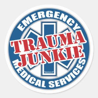 EMS Trauma Junkie Classic Round Sticker